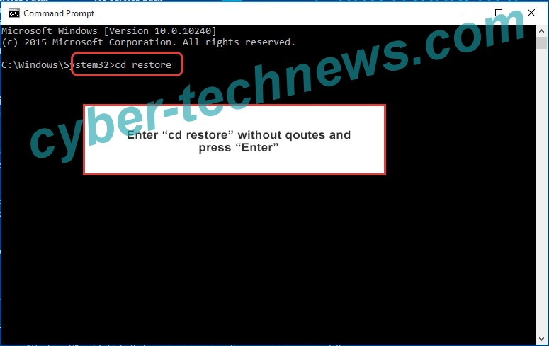 Uninstall Carote Ransomware - command prompt restore