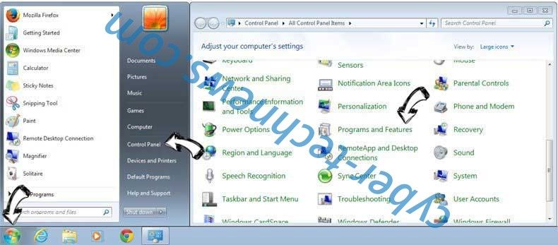 Uninstall ArtTab New Tab Extension from Windows 7
