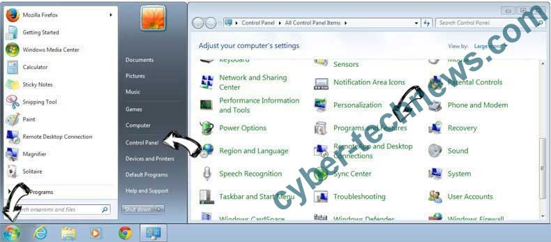 Uninstall WARNING! 41 Threats Found!!! POP-UP Scam from Windows 7