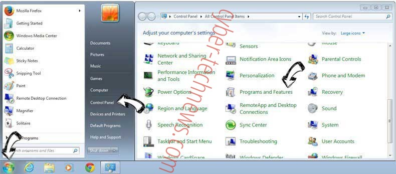 Uninstall Microsoft Warning Alert Scam from Windows 7