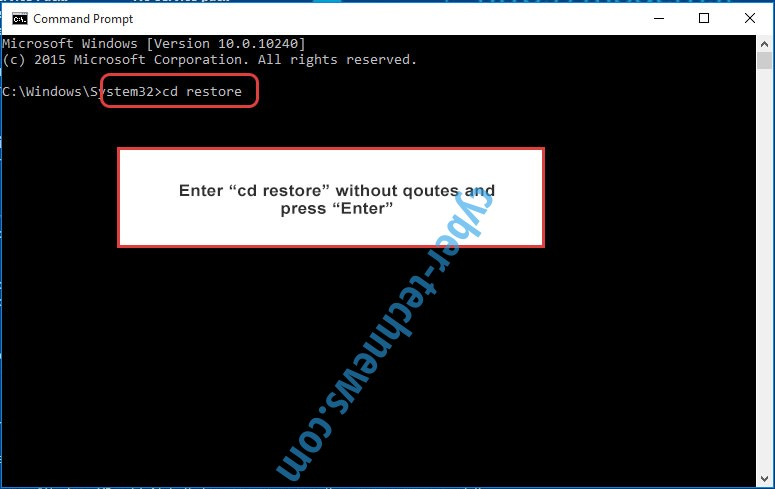 Uninstall GarrantyDecrypt ransomware - command prompt restore