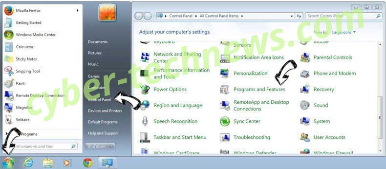 Uninstall Yatab.net from Windows 7