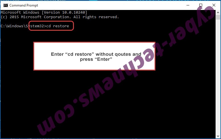 Uninstall Katyusha ransomware - command prompt restore