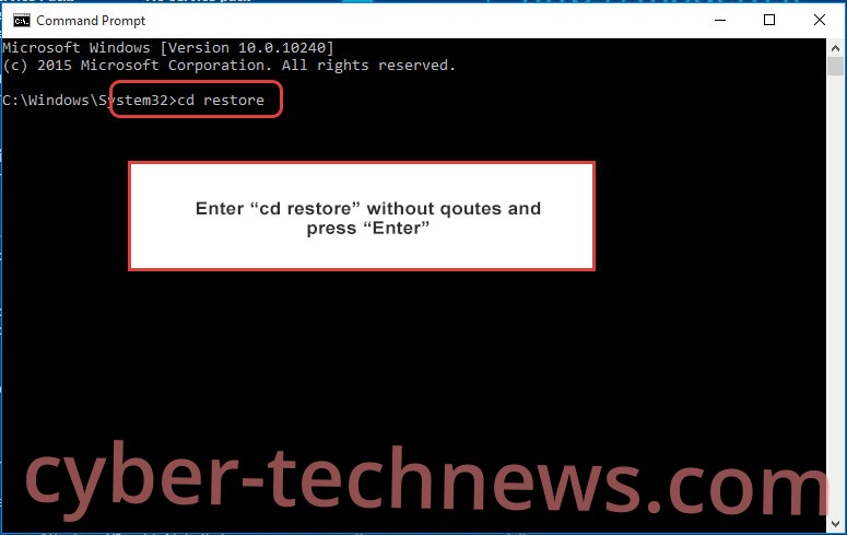 Uninstall Birbware ransomware - command prompt restore