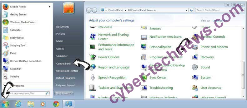 Uninstall En.uc123.com from Windows 7