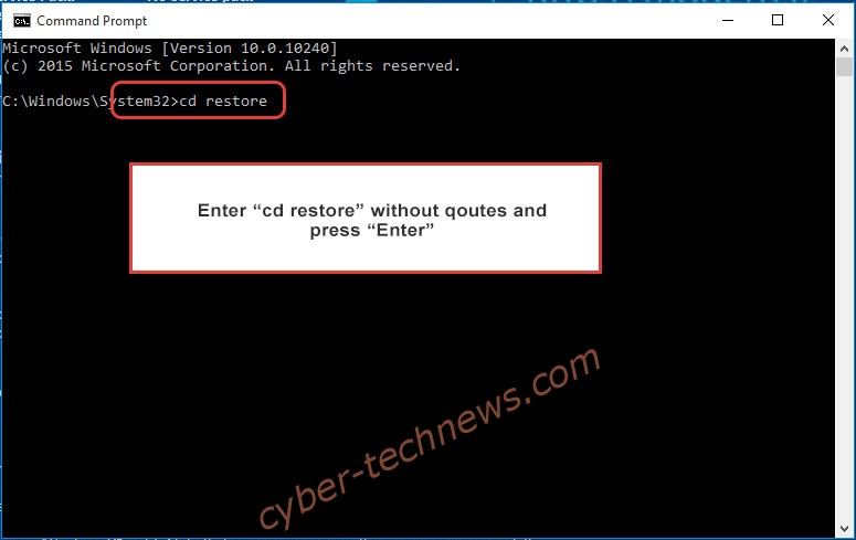 Uninstall DavesSmith Ransomware - command prompt restore