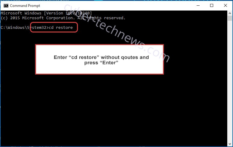 Uninstall SymmyWare Ransomware - command prompt restore