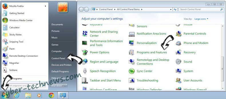 Uninstall SearchGrape.com from Windows 7