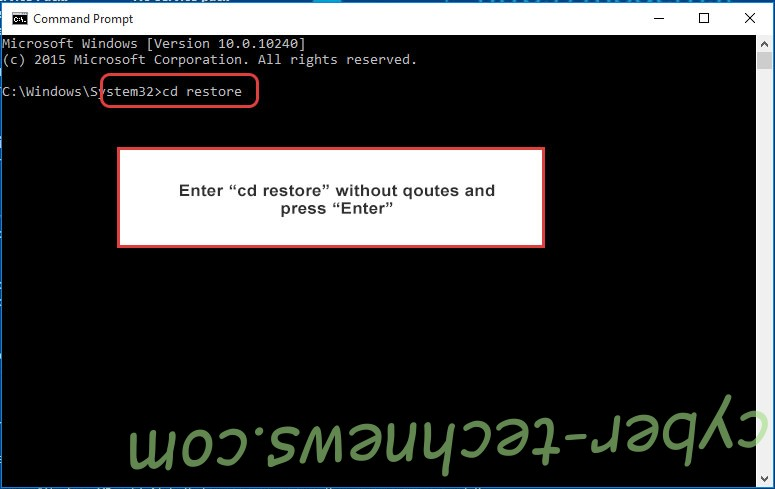 Uninstall InducVirus Ransomware - command prompt restore