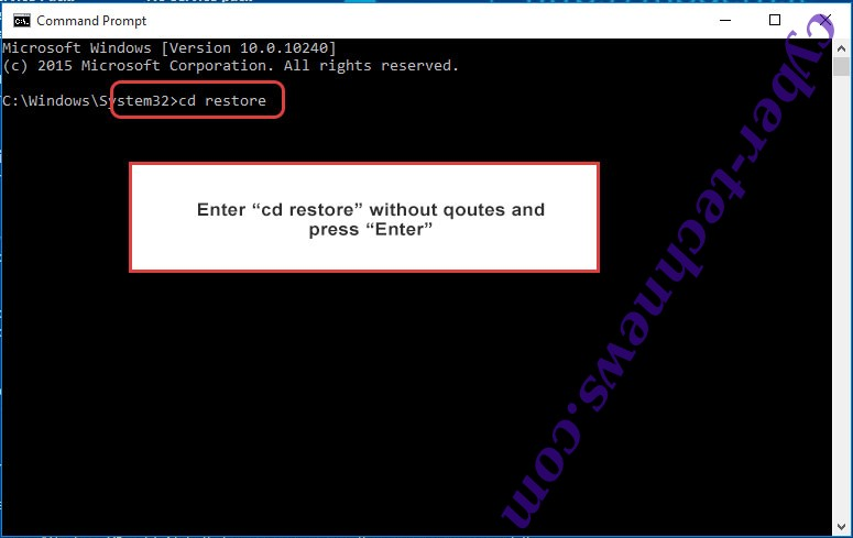 Uninstall Seon Ransomware - command prompt restore