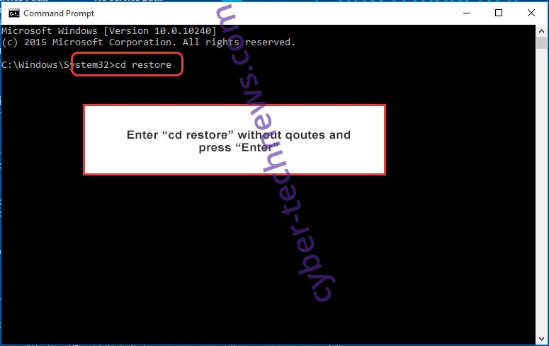 Uninstall Zobm ransomware - command prompt restore