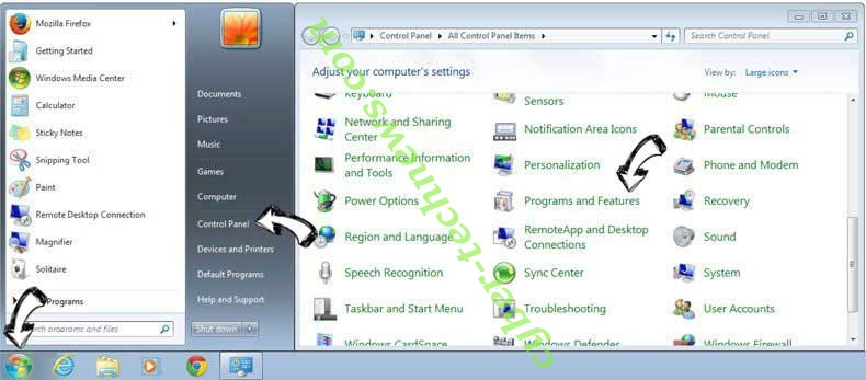 Uninstall Thursailso.com from Windows 7