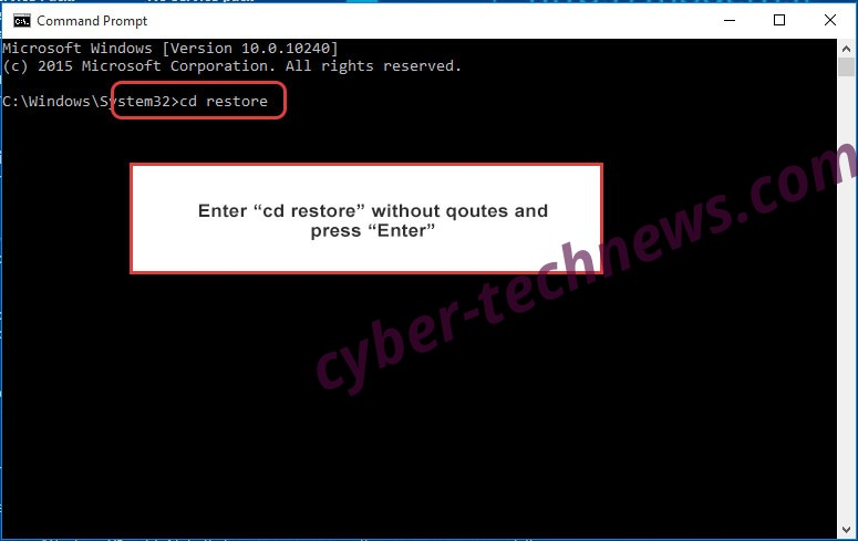 Uninstall Dablio Ransomware - command prompt restore
