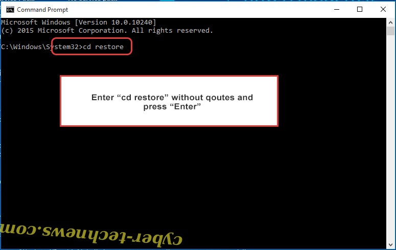 Uninstall Cryptre Ransomware - command prompt restore