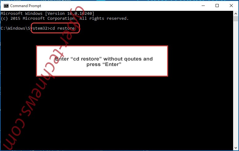 Uninstall Black Worm Ransomware - command prompt restore