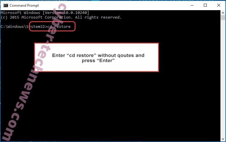 Uninstall Cossy Ransomware - command prompt restore