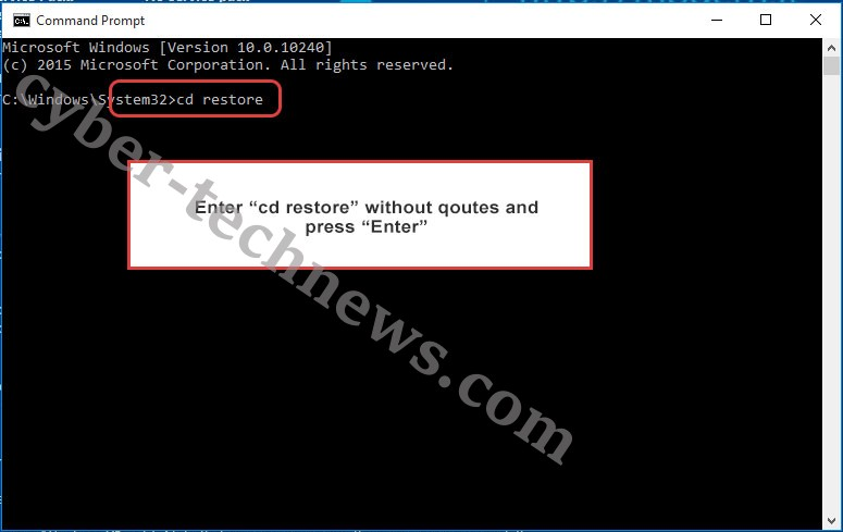 Uninstall KARLS ransomware - command prompt restore