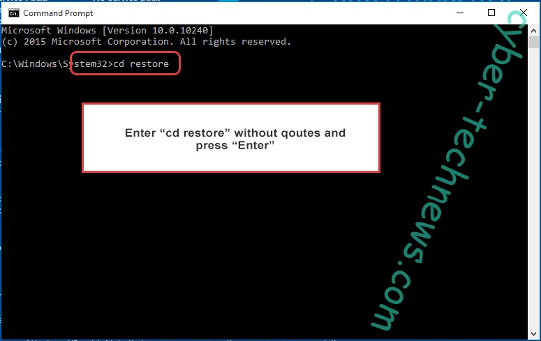 Uninstall .cammora file virus - command prompt restore