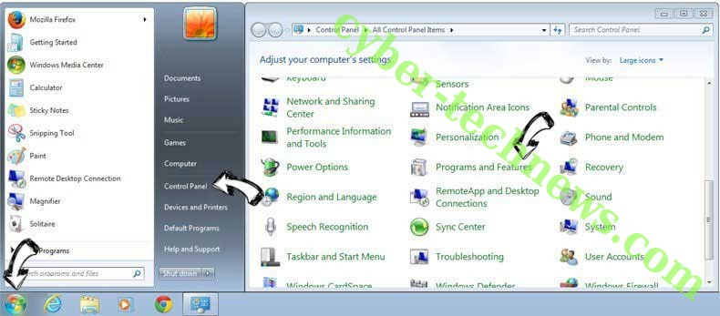 Uninstall Rocket Tab from Windows 7