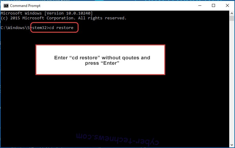 Uninstall PewCrypt Ransomware - command prompt restore