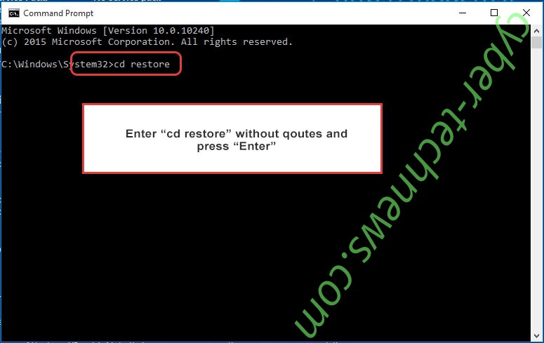 Uninstall Yarraq ransomware - command prompt restore