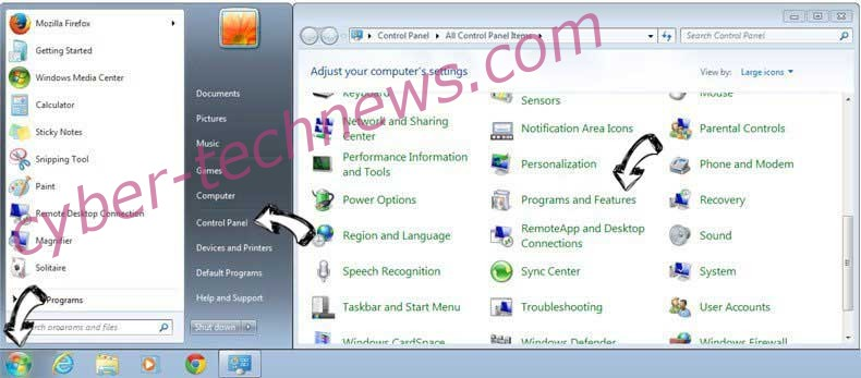 Uninstall Great-news11.club pop-up ads from Windows 7