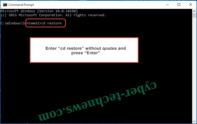 Uninstall Globe Imposter ransomware - command prompt restore