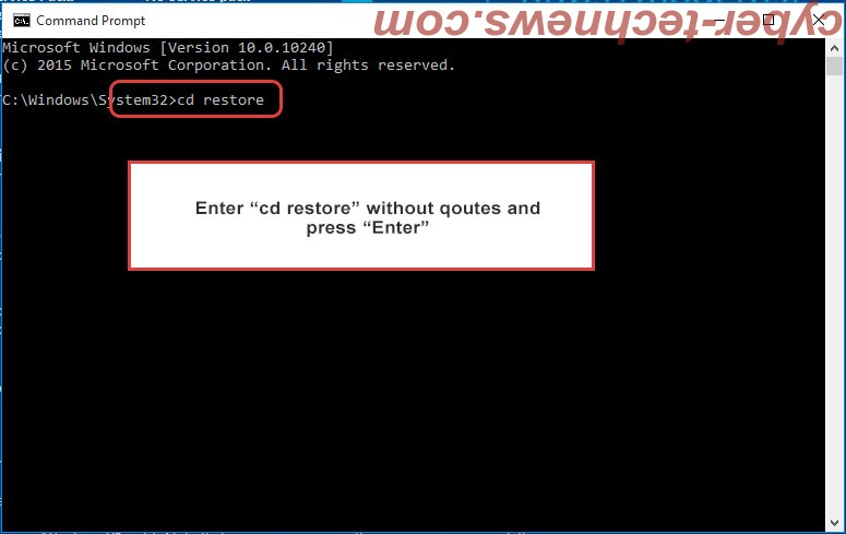 Uninstall Satan ransomware - command prompt restore