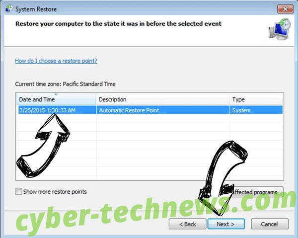 Carote Ransomware - restore point
