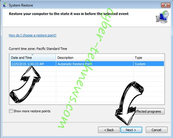 .pluto file virus - restore point