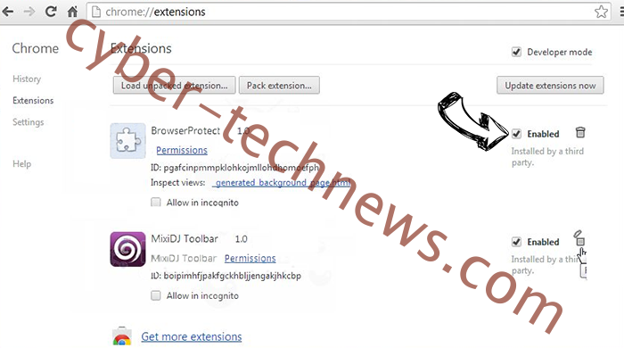 Chill-tab Search Virus Chrome extensions disable
