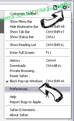 Chill-tab Search Virus Safari menu