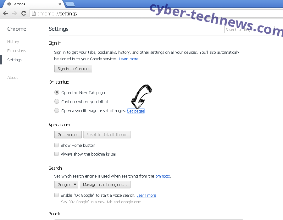 Tabs2Grid Virus Chrome settings
