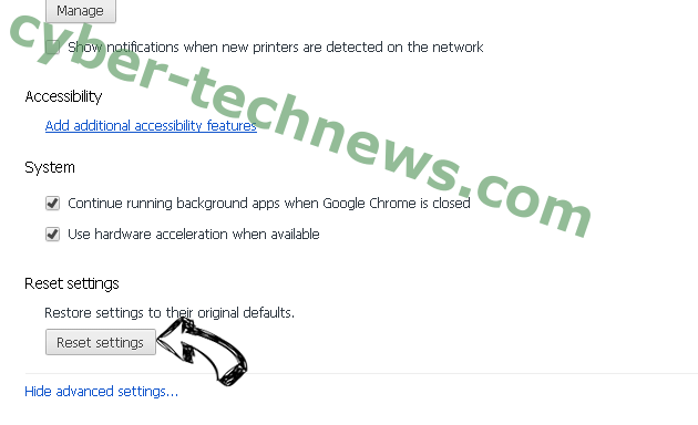 Go.correcticko.com Chrome advanced menu