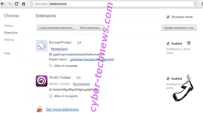 Myfashiontab.com Chrome extensions remove