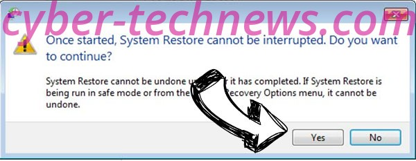 Cales ransomware removal - restore message