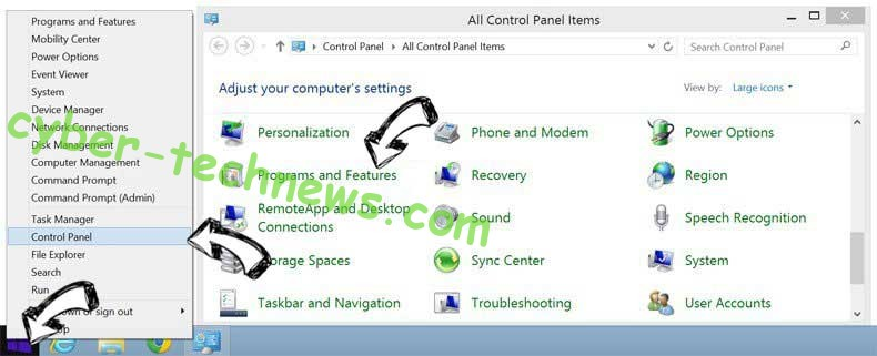 Delete Tabs2Grid Virus from Windows 8