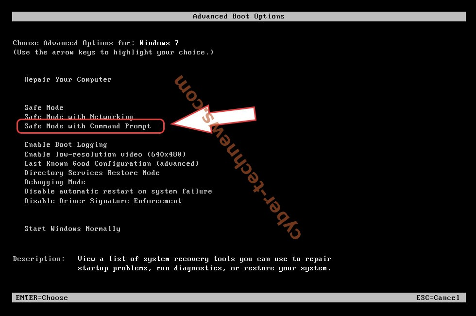Remove Cales ransomware - boot options