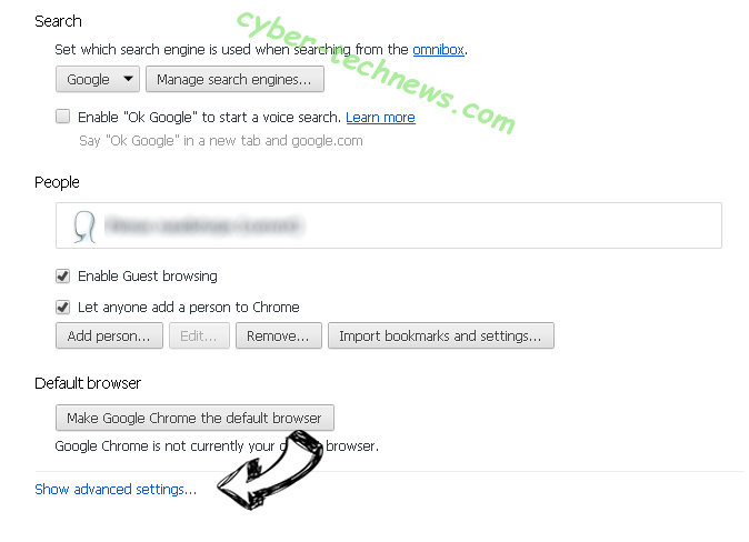 Searchall.network Chrome settings more