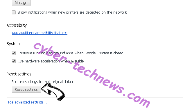 Yayzap Adware Chrome advanced menu