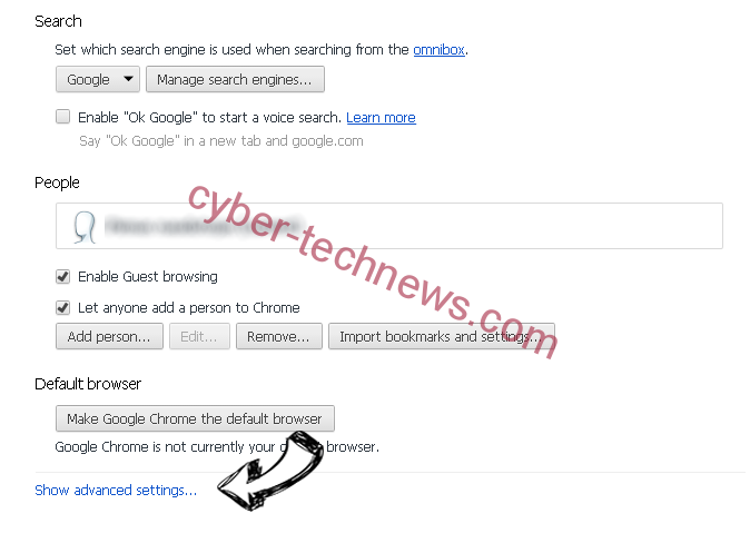 Tohotweb.com Chrome settings more