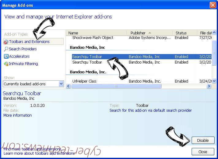 Yayzap Adware IE toolbars and extensions