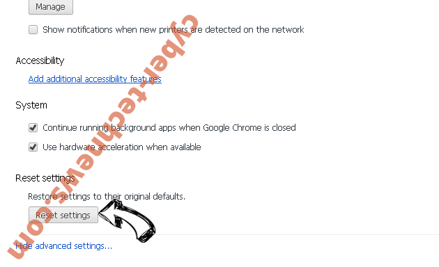 The System Is Badly Damaged POP-UP Scam Chrome advanced menu