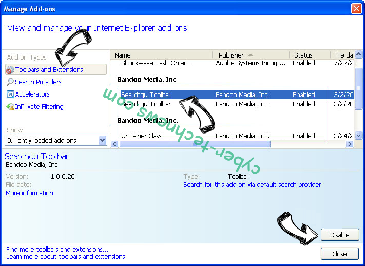 Search.hemailaccessonline.com IE toolbars and extensions
