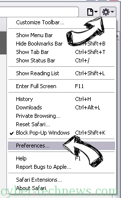 MyBrowsersPage.com Safari menu