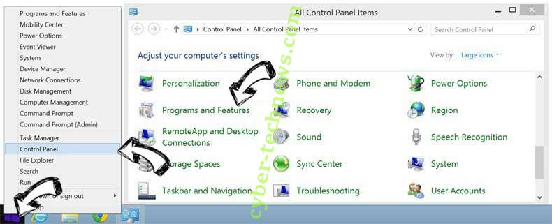 Delete Home.specialtab.com from Windows 8