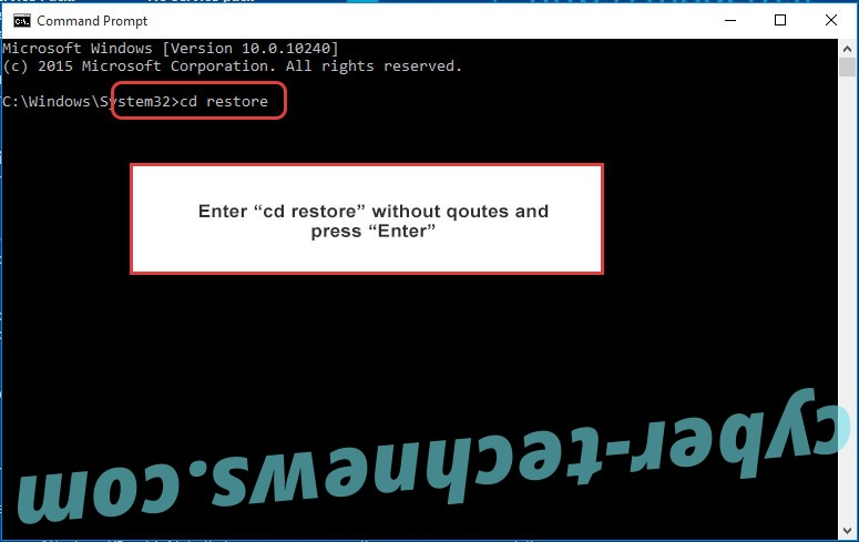 Uninstall HacknutCrypt ransomware - command prompt restore