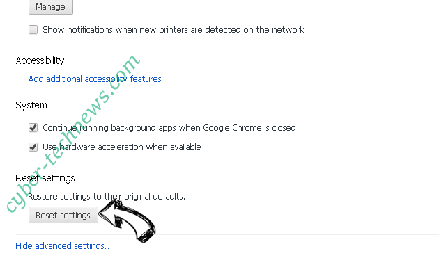 Organicalews.info Chrome advanced menu