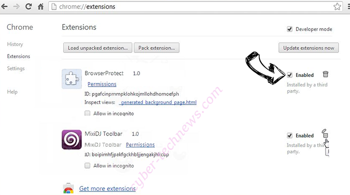 Pushmeandtouchme.info Chrome extensions disable