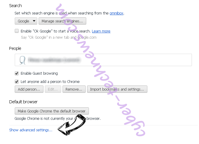 Vnse52.xyz virus Chrome settings more